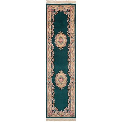 Link Hand-Knotted Wool Dark Green Area Rug