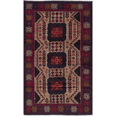 One-of-a-Kind Linda Handmade Wool Khaki/Red Area Rug