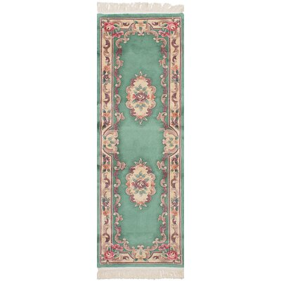 One-of-a-Kind Link Handmade Wool Light Green Area Rug