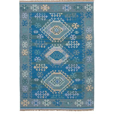 Pavlatka Kilim Hand-Woven Wool Blue/Gray Area Rug Rug Size: Rectangle 5 x 8