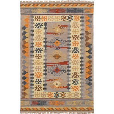 Pavlatka Kilim Hand-Woven Wool Light Gray/Yellow Area Rug Rug size: Rectangle 5 x 8