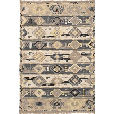 Pavlatka Kilim Hand-Woven Wool Cream/Dark Gray Area Rug Rug size: Rectangle 5 x 8