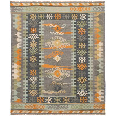 Pavlatka Kilim Hand-Woven Wool Gray/Orange Area Rug