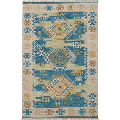Pavlatka Kilim Hand-Woven Wool Khaki/Turquoise Area Rug Rug size: Rectangle 5 x 8