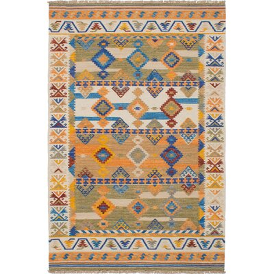 Pavlatka Kilim Hand-Woven Wool Cream/Blue Area Rug Rug size: Rectangle 5 x 8