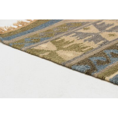 Pavlatka Kilim Hand-Woven Wool Olive/Blue Area Rug