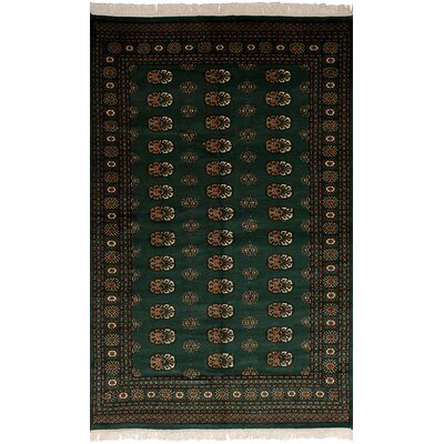 One-of-a-Kind Onondaga Hand-Knotted Wool Dark Green Area Rug