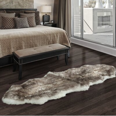 Luxurious Hand Woven Sheepskin Brown Area Rug