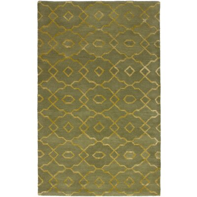 Harber Abstract Art Hand-Tufted Olive Area Rug