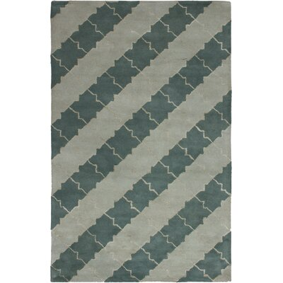 Helton Hand-Tufted Light Gray/Teal Area Rug