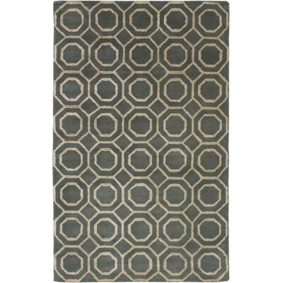 Hardaway Hand-Tufted Dark Gray/Light Khaki Area Rug