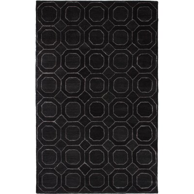 Hardaway Hand-Tufted Black/Dark Gray Area Rug