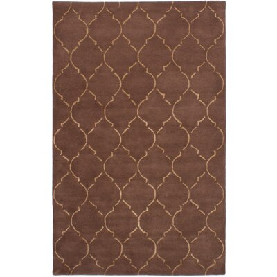 Helsley Hand-Tufted Dark Brown Area Rug