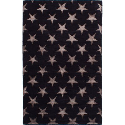 Hardeman Hand-Tufted Black Area Rug
