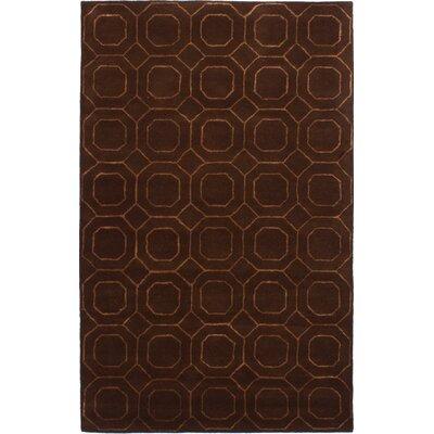 Hardaway Hand-Tufted Dark Brown Area Rug