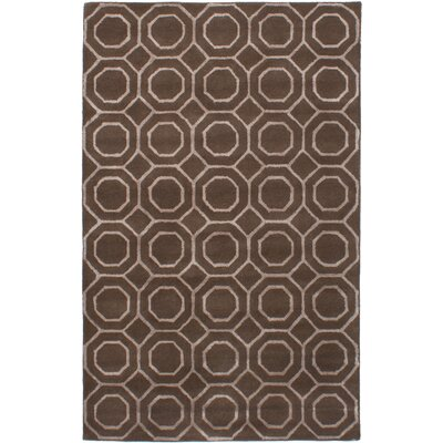 Hardaway Hand-Tufted Dark Brown Area Rug