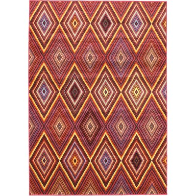 Dyann Diamond Red Abstract Area Rug Rug Size: 55 x 79