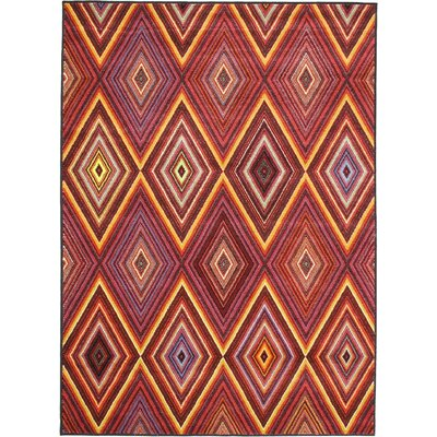Dyann Diamond Red Abstract Area Rug Rug Size: 47 x 63