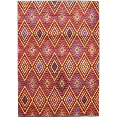 Dyann Diamond Red Abstract Area Rug Rug Size: 67 x 96