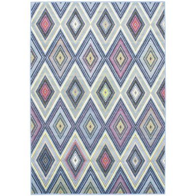 Summer Chroma Diamond Blue Abstract Area Rug Rug Size: 55 x 79