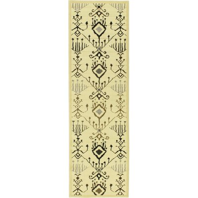 Summer Cream Glitter Ikat Lantern Open Field Area Rug Rug Size: Runner 24 x 79