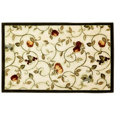 Miracle Fruit Dark Green/Cream Area Rug Rug Size: 26 x 310