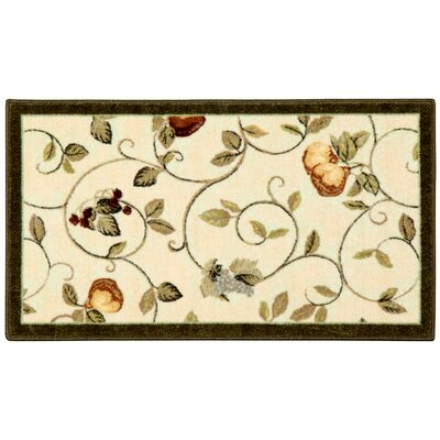 Miracle Fruit Dark Green/Cream Area Rug Rug Size: Rectangle 18 x 210