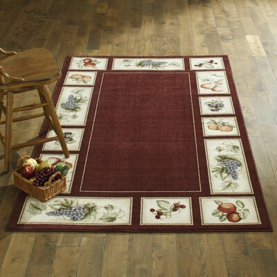 Eden's Bounty Burgundy/White Area Rug