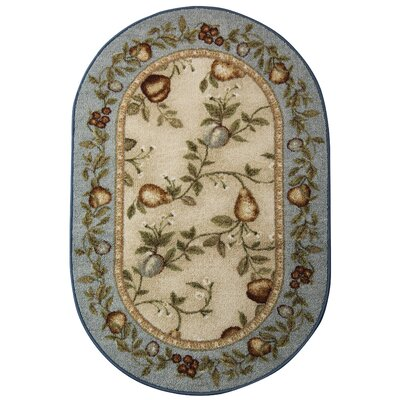 Splendid Fruit Blue/Beige Area Rug Rug Size: 18 x 210