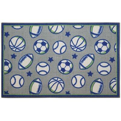 SPORTS BLUE/GREEN Area Rug Rug Size: 33 x 54
