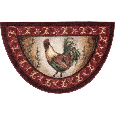 Prancing Rooster Kitchen Novelty Rug Rug Size: Half Circle 1'7 x 2'7