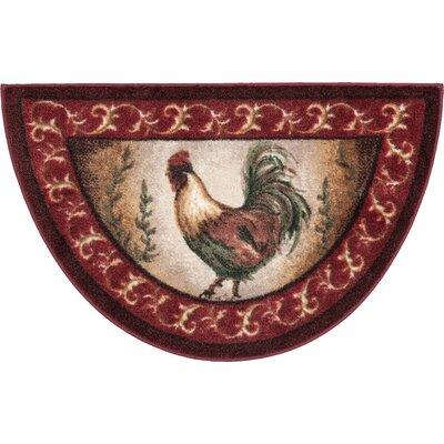 Prancing Rooster Kitchen Novelty Rug Rug Size: Half Circle 1'7 x 2'7
