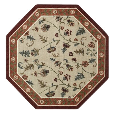 Farrah Rich Red/Beige Area Rug Rug Size: Octagon 5