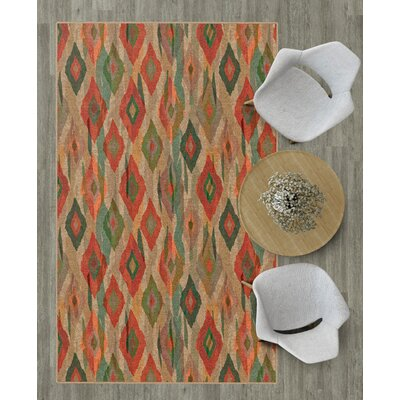 Estill Diamond Modern Red Indoor/Outdoor Area Rug Size: Rectangle 76 x 10