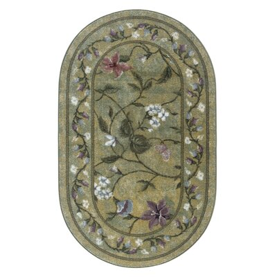 Butterfly Golden Green Area Rug Rug Size: Oval 18 x 210