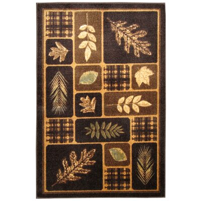 Rustic Leaves Chocolate & Natural Area Rug Rug Size: 18 x 210