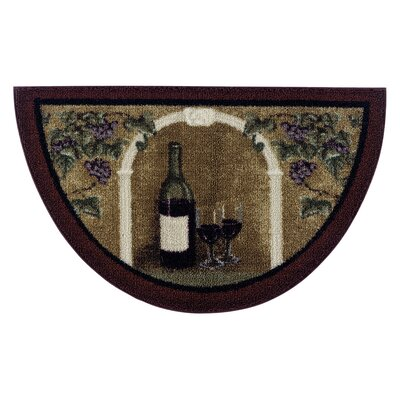 Wine Kitchen Brown Area Rug Rug Size: 17 x 27