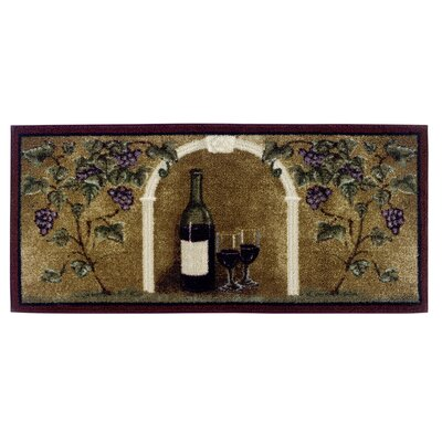 Wine Kitchen Brown Area Rug Rug Size: 18 x 38