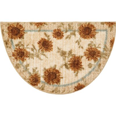 Delicate Sunflower Kitchen Rug Rug Size: Half Circle 1'7