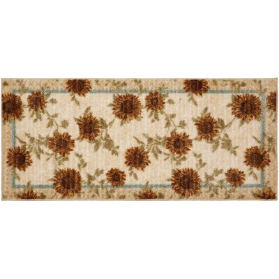 Delicate Sunflower Kitchen Rug Rug Size: Half Circle 18 x 38