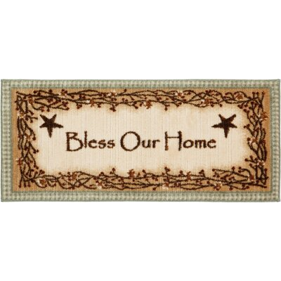 Berry Blossoms Blessing Kitchen Brown Novelty Rug Rug Size: Half Circle 18 x 38