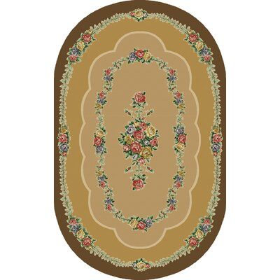 Rosewood Brown/Tan Area Rug Rug Size: Oval 5 x 8