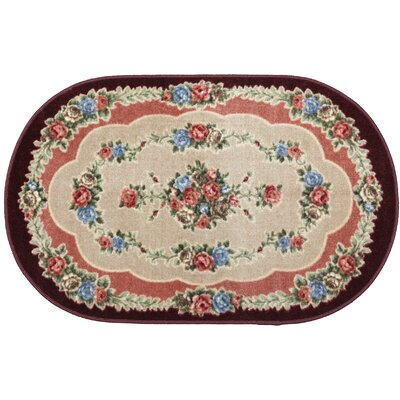 Rosewood Burgundy Area Rug Rug Size: Oval 26 x 310