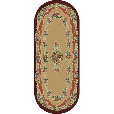 Rosewood Brown/Tan Area Rug Rug Size: Oval 110 x 5