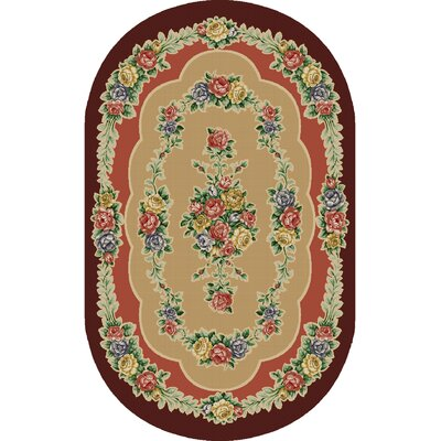 Rosewood Burgundy Area Rug Rug Size: Oval 33 x 54
