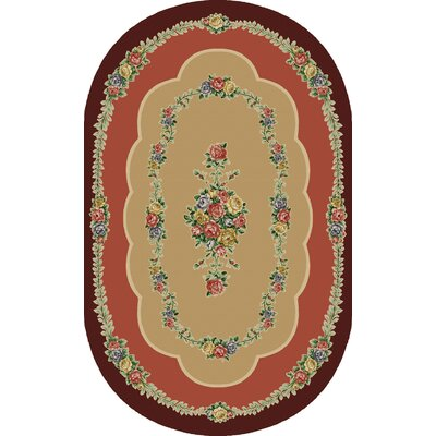 Rosewood Burgundy Area Rug Rug Size: Oval 5 x 8