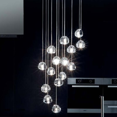 Mizu 15-Light Cascade Pendant Canopy: Round, Finish: Silver