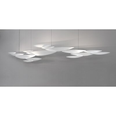 I Lucci Argentati 10-Light Inverted Pendant Size: 57, Finish: White/ Metal