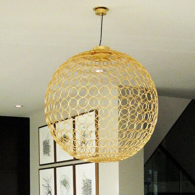 G.R.A. 1-Light Globe Pendant Shade Color: Gold, Size: 35.4 H x 35.4 W