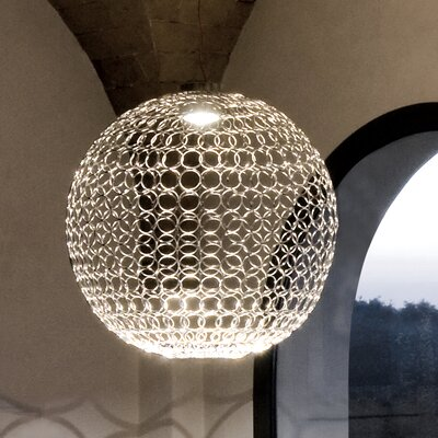 G.R.A. 1-Light Globe Pendant Size: 21.6 H x 21.6 W, Shade Color: Nickel